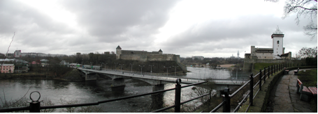 Narva River – Russian castle on the left bank – Estonian Castle on the right bank